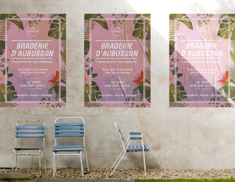 affiche-illustration-tropical-evenement-braderie-daubusson